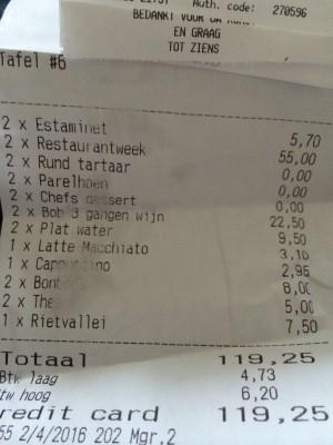 betaald voor diner in 't Klooster